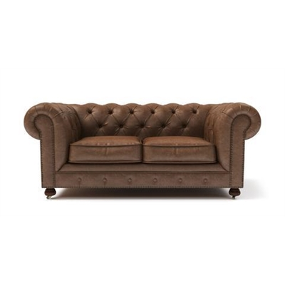 Camden Chesterfield Leather 2 Seater Sofa Walnut