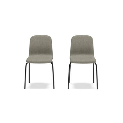 Madea Set of 2 Stackable Dining Chairs Black Storm Grey