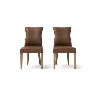 Zoe Leather Set of 2 Dining Chairs Walnut Wire Brushed Solid Beech