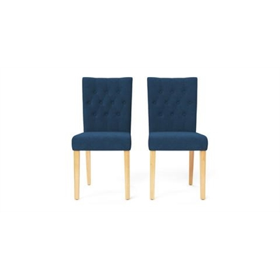 Espen Set of 2 Dining Chairs Natural Solid Beech Atlantic Blue