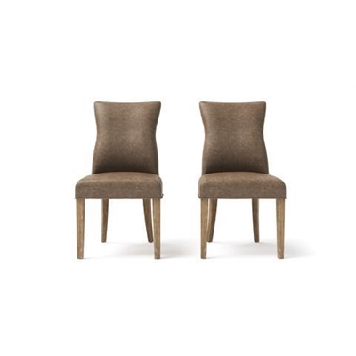 Zoe Leather Set of 2 Dining Chairs Taupe Wire Brushed Solid Beech