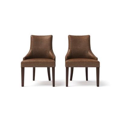 Zoe Leather Scoop Back Dining Chair Walnut Dark Brown Solid Beech