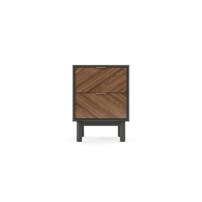 Parc Bedside Table Dark Grey Solid Wood