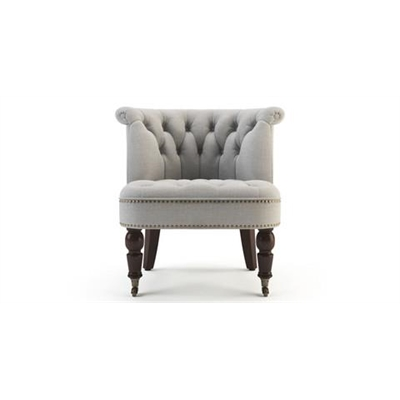 Helene Accent Chair Dark Brown Solid Beech Stone Grey