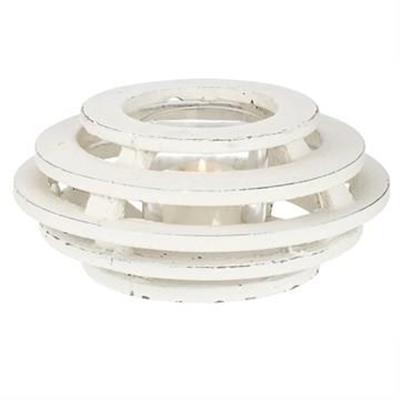 Palmira Cement Shuttered Tealight Lantern, Medium, Distressed White