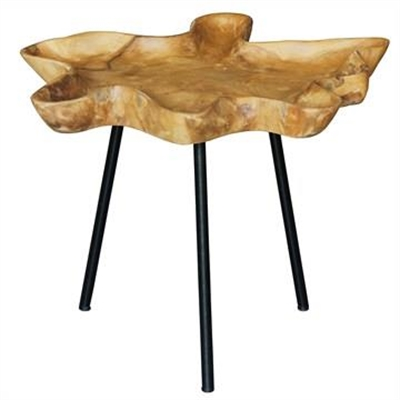 Gable Teak Timber and Iron Side Table by Centrum Furniture, a Side Table for sale on Style Sourcebook