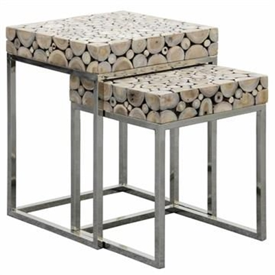 Iberia 2 Piece Driftwood and Stainless Steel Nested Table Set