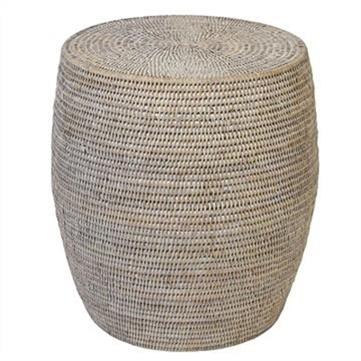 Savannah Rattan Drum Side Table, White Wash by COJO Home, a Stools for sale on Style Sourcebook