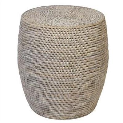 Savannah Rattan Drum Side Table, White Wash