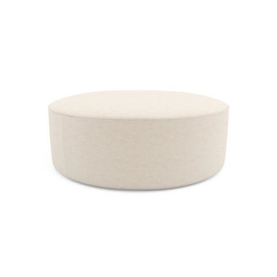 Alexa Large Round Ottoman French Beige