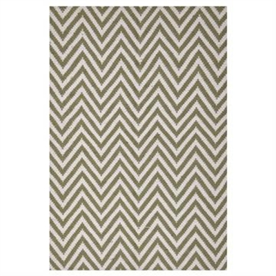 Modern Double Sided Flat Weave Chevron Design Cotton & Jute Rug in Green - 280x190cm
