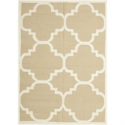 Nomad Hand Knotted Weave Moroccan Design Woolen Rug in Beige - 280x190cm