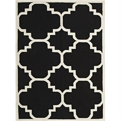 Nomad Hand Knotted Weave Moroccan Design Woolen Rug in Black - 280x190cm