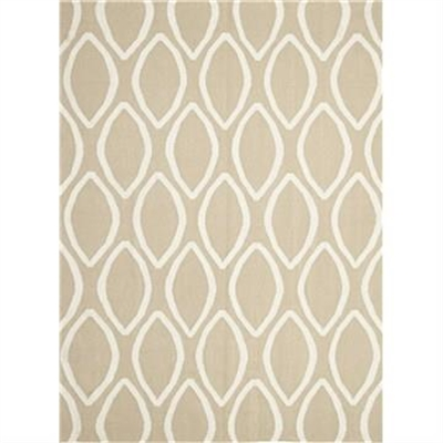Nomad Hand Knotted Weave Oval Print Woolen Rug in Beige - 280x190cm