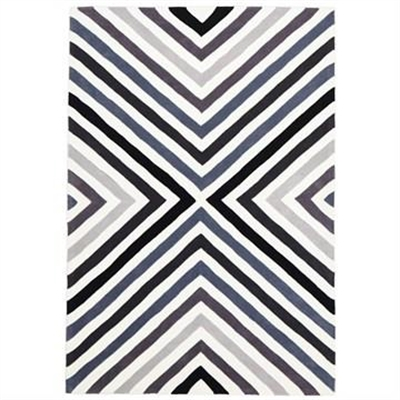 Narris Cross Roads Hand Tufted Rug in Charcoal Grey - 165x115cm