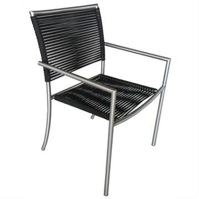 Bunji Stainless Steel Stackable Indoor/Outdoor Dining Armchair, Black