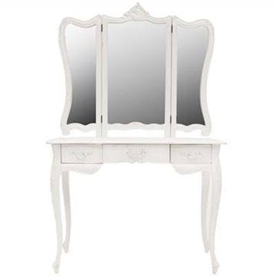 Septeme Hand Crafted Mahogany Dressing Table with Mirror, White by Millesime, a Dressers & Chests of Drawers for sale on Style Sourcebook