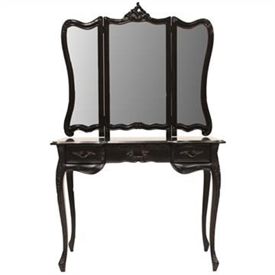 Septeme Hand Crafted Mahogany Dressing Table with Mirror, Black by Millesime, a Dressers & Chests of Drawers for sale on Style Sourcebook