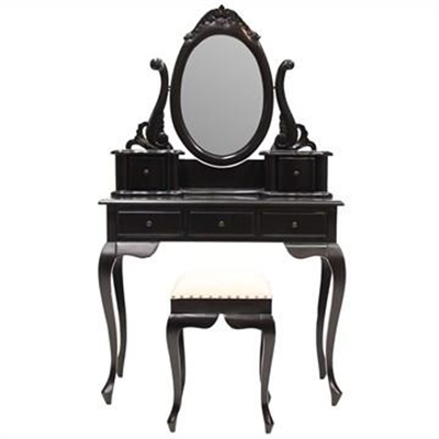 Champier Hand Crafted Mahogany Dressing Table with Stool, Black by Millesime, a Dressers & Chests of Drawers for sale on Style Sourcebook