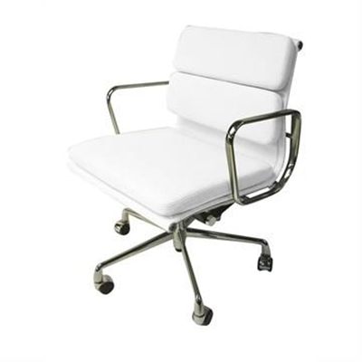 Replica Eames Italian Leather Soft Pad Office Chair, Mid Back, White / Silver
