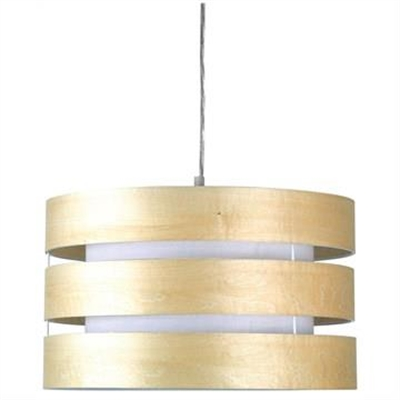 Taho Timber Slated Pendant Light Drum Shade, Beech