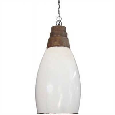 Bulging Glass Tube Pendant Light in White