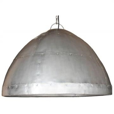 Laage Rivetted Metal Dome Pendant Light - Zinc