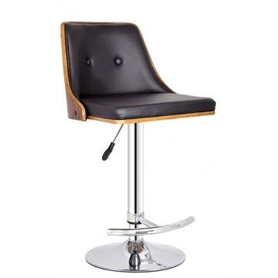 Florence Gas Lift Swivel Bar Stool, Walnut/Black