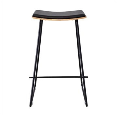 Nordberg Commercial Grade Steel Bar Stool with PU Seat, Black