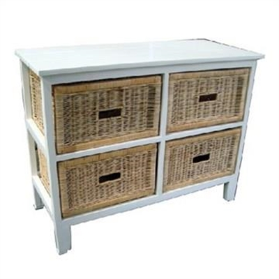 Umina Mango Wood Timber 4 Cane Rattan Baskets Sideboard - White/Natural by Dodicci, a Bathroom Storage Cabinets for sale on Style Sourcebook