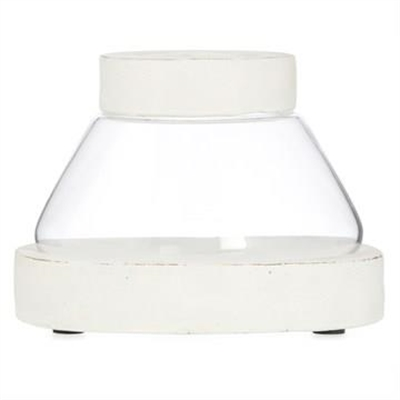 Palmira Cement & Glass Tapered Candle Holder, Small, Distressed White