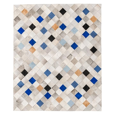 Falling Squares Hide Rug, Blue
