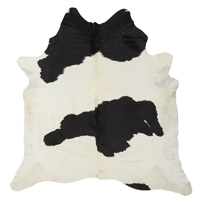 Natural Cowhide Rug, Buttermilk/Black