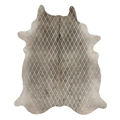 Arlequin Cow Hide Rug, Grey/Gold