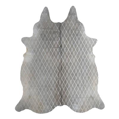 Arlequin Cow Hide Rug, Grey/Silver