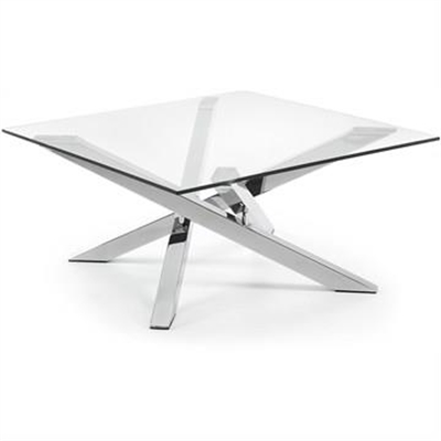 Ufford Glass Top 90cm Square Coffee Table - Clear/Sliver by El Diseno, a Coffee Table for sale on Style Sourcebook