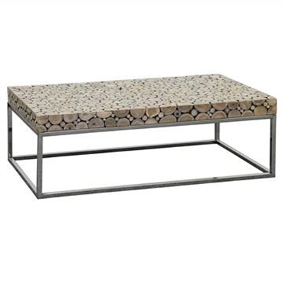 Iberia Driftwood and Stainless Steel 120cm Coffee Table