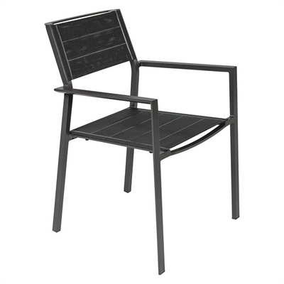 Edalia Outdoor Dining Chair, Charcoal/Black