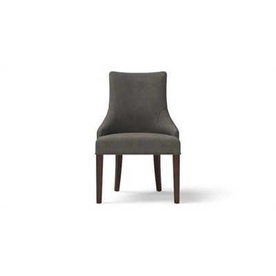 Zoe Scoop Back Dining Chair Dark Brown Solid Beech Stone Grey