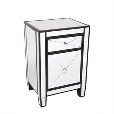 Apolo Mirrored Bedside Table, Black by Cozy Lighting & Living, a Bedside Tables for sale on Style Sourcebook