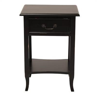 Ygrande Hand Crafted Mahogany Bedside Table, Black