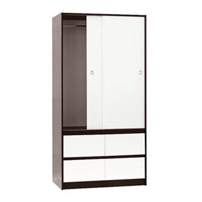 Cue Slim Wardrobe - Dark Walnut/White by EBT Furniture, a Wardrobes for sale on Style Sourcebook