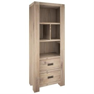 Laccadive 180cm Acacia Timber Bookshelf with 2 Drawers in Ash Finish