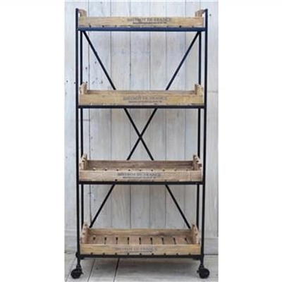 Bistrot De France Industiral Solid Mango Wood Timber and Iron Display Shelf with Castors