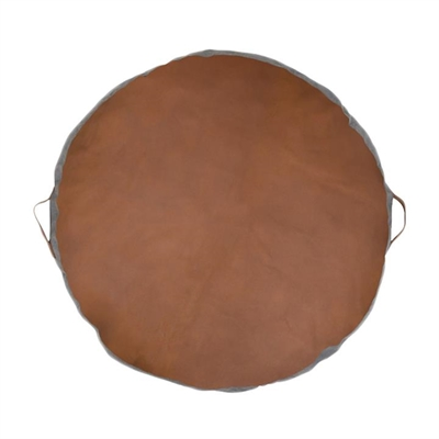 Round Leather Floor Pad, Tan by Amigos De Hoy, a Ottomans for sale on Style Sourcebook