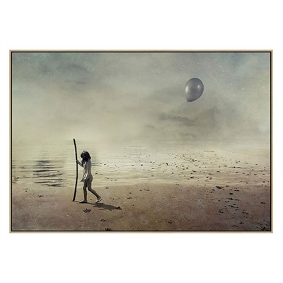 Girl And Balloon Canvas Print with Floating Frame