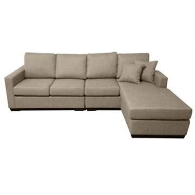 Club Fabric 4 Seater Sofa with Reversible Chaise - Taupe
