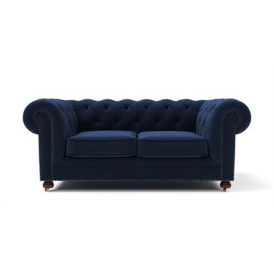 Notting Hill Velvet Chesterfield 2 Seater Sofa Ocean Blue