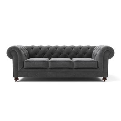 Notting Hill Velvet Chesterfield 3 Seater Sofa Cosmic Anthracite