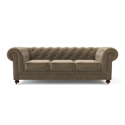 Notting Hill Velvet Chesterfield 3 Seater Sofa Putty Beige